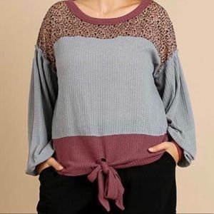 Women's Color Block Waffle Knit Puff Sleeve Top